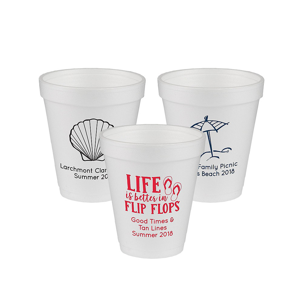 Personalized Summer Foam Cups 8oz Image #1