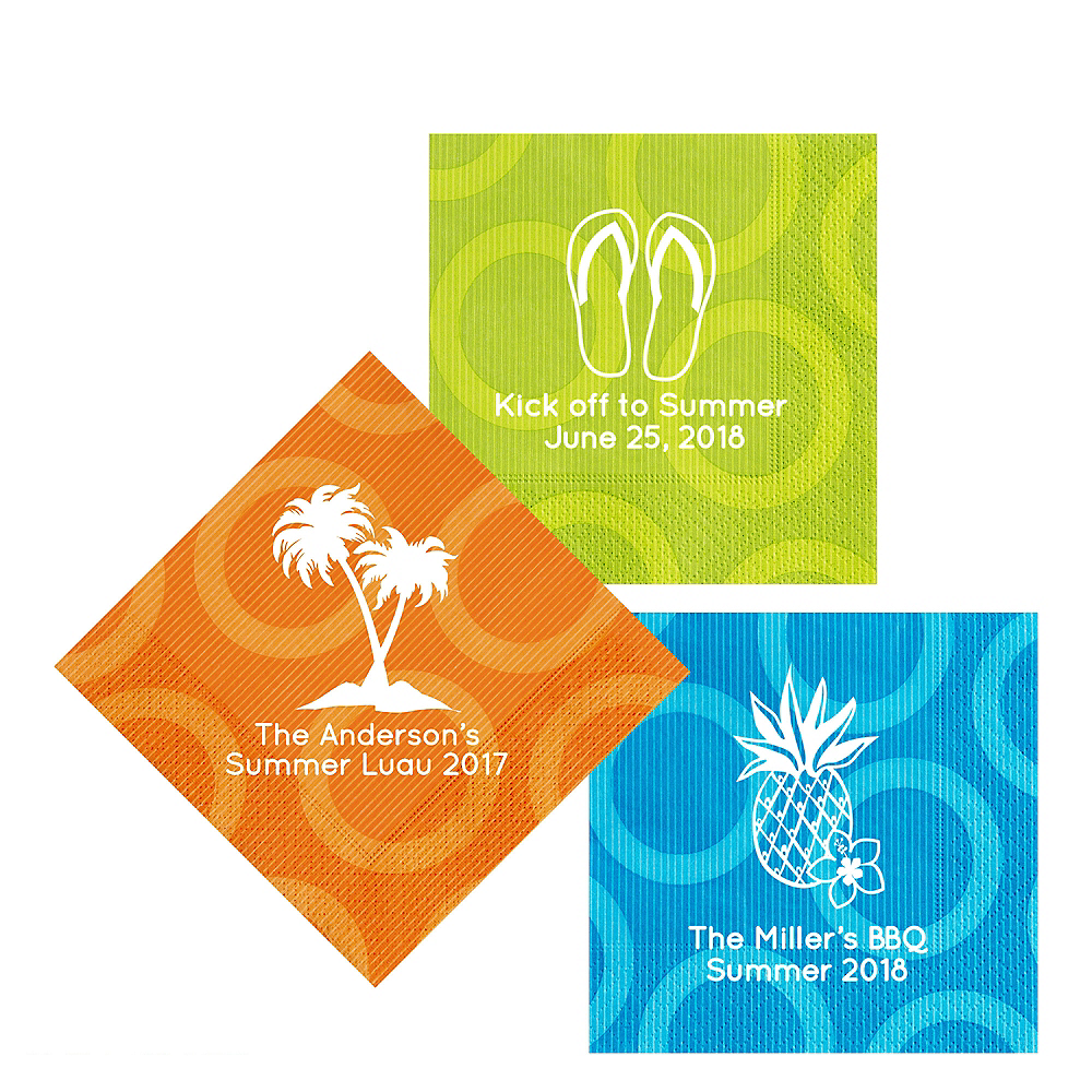 Personalized Luau Circles Lunch Napkins Image #1