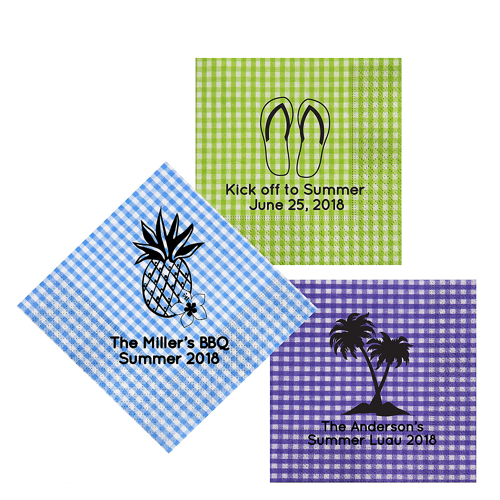 Personalized Luau Gingham Lunch Napkins Image #1