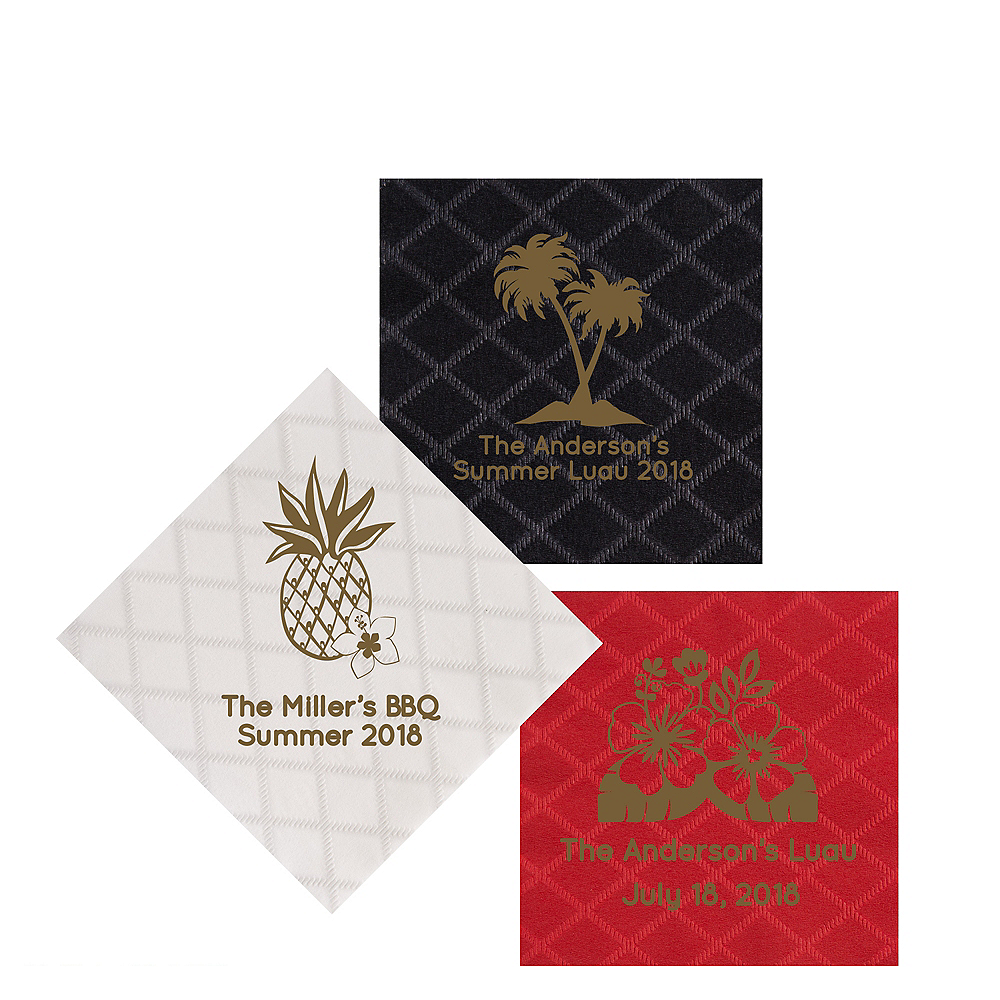 Personalized Luau Diamonds Beverage Napkins Image #1