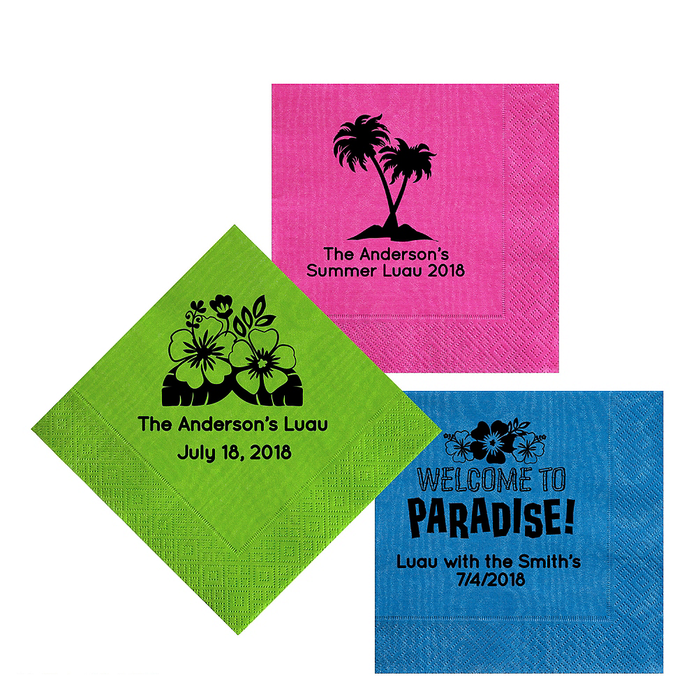 Personalized Luau Moire Lunch Napkins Image #1