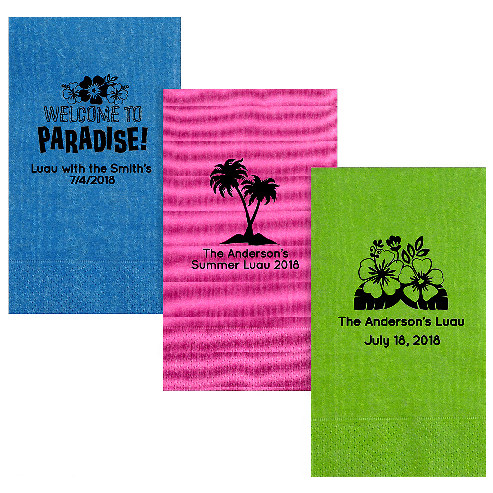 Personalized Luau Moire Guest Towels Image #1