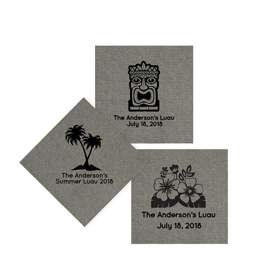 Personalized Luau Tweed Print Beverage Napkins Image #1