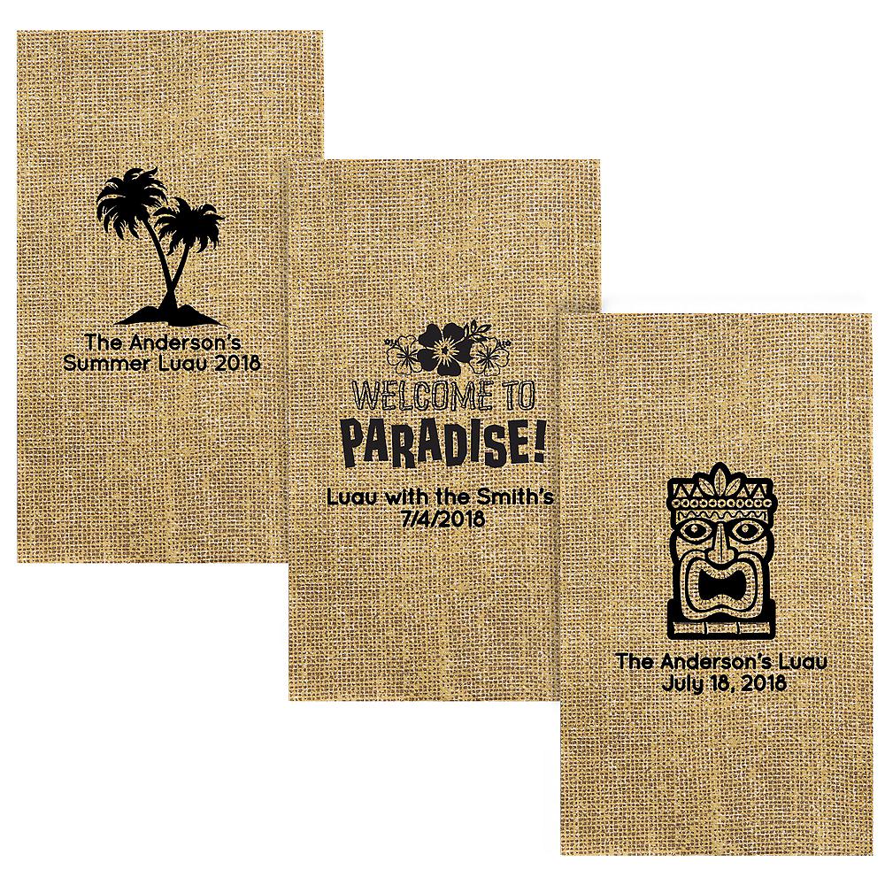 Personalized Luau Burlap Print Guest Towels Image #1