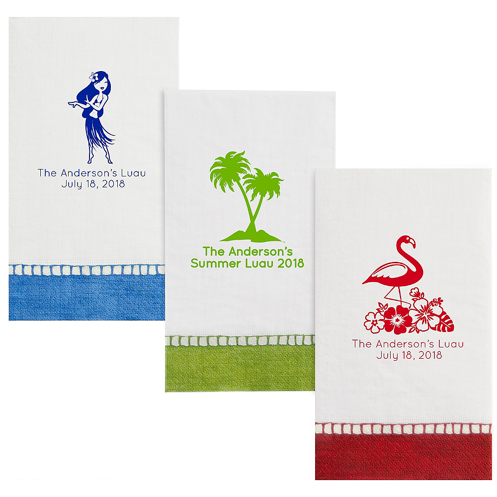 Personalized Luau Bordered Guest Towels Image #1