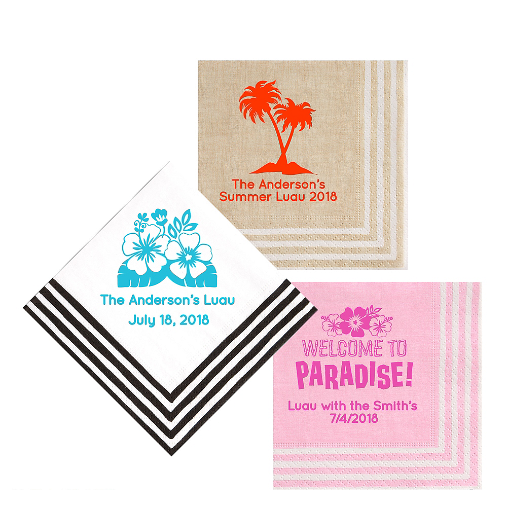 Personalized Luau Stripe Border Lunch Napkins Image #1