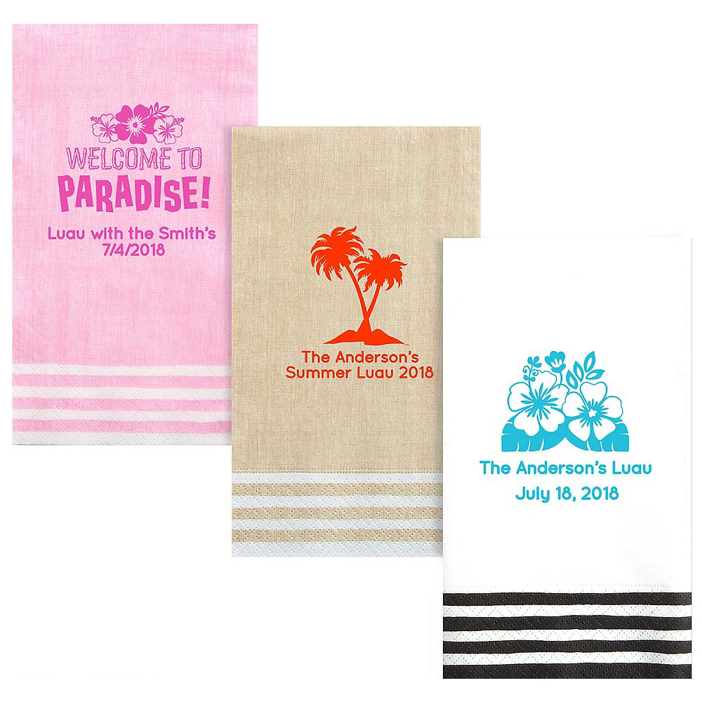 Personalized Luau Stripe Border Guest Towels Image #1