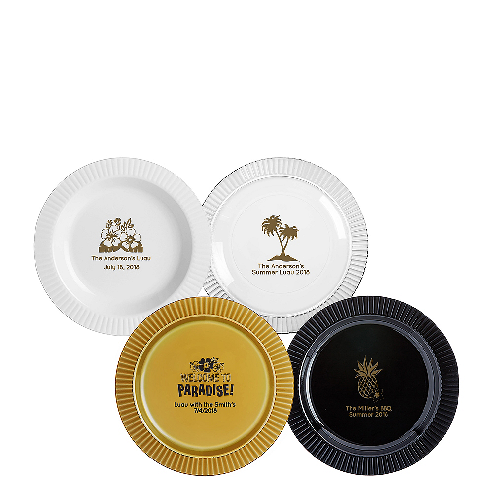 Personalized Luau Premium Plastic Dessert Plates Image #1