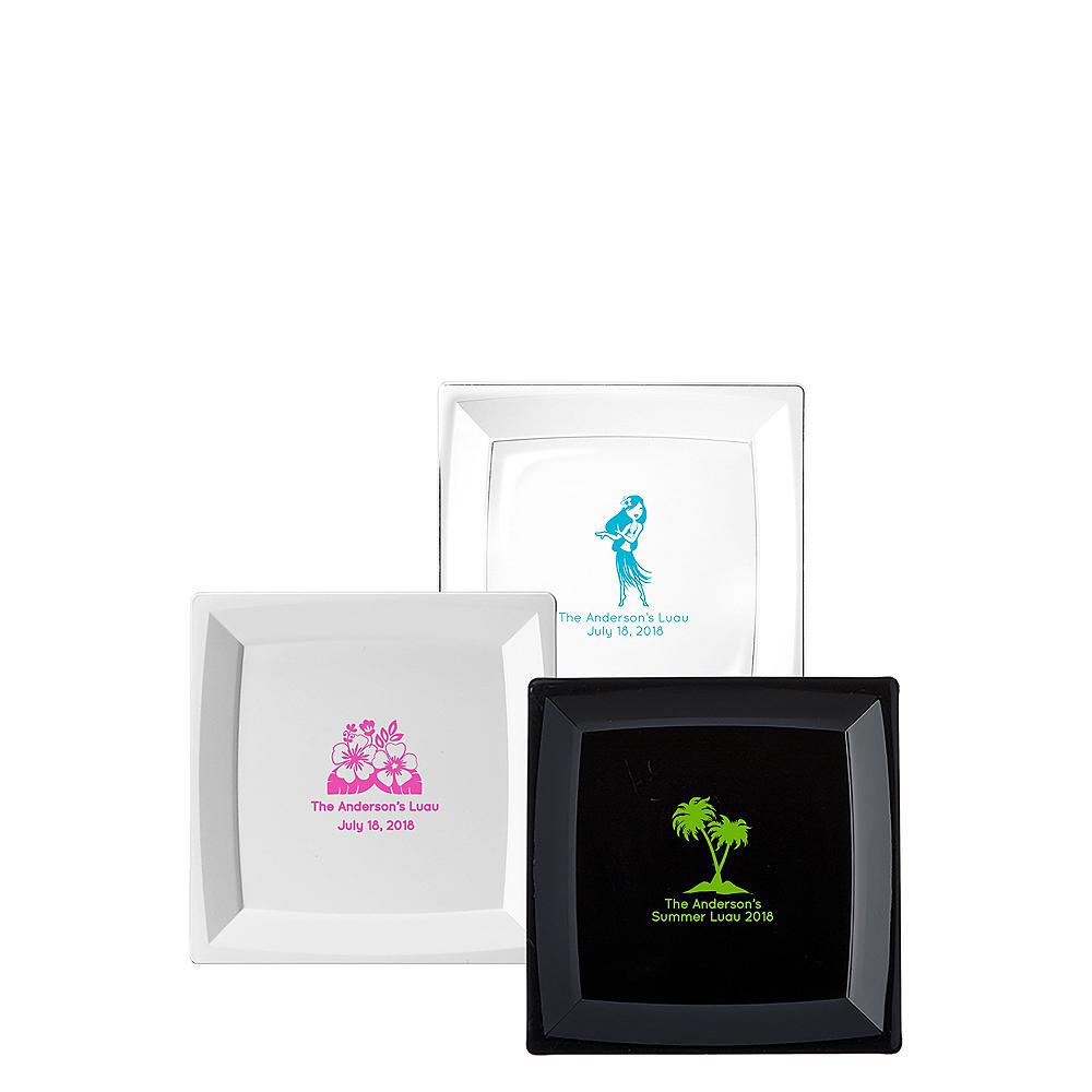 Personalized Luau Premium Plastic Square Dessert Plates Image #1
