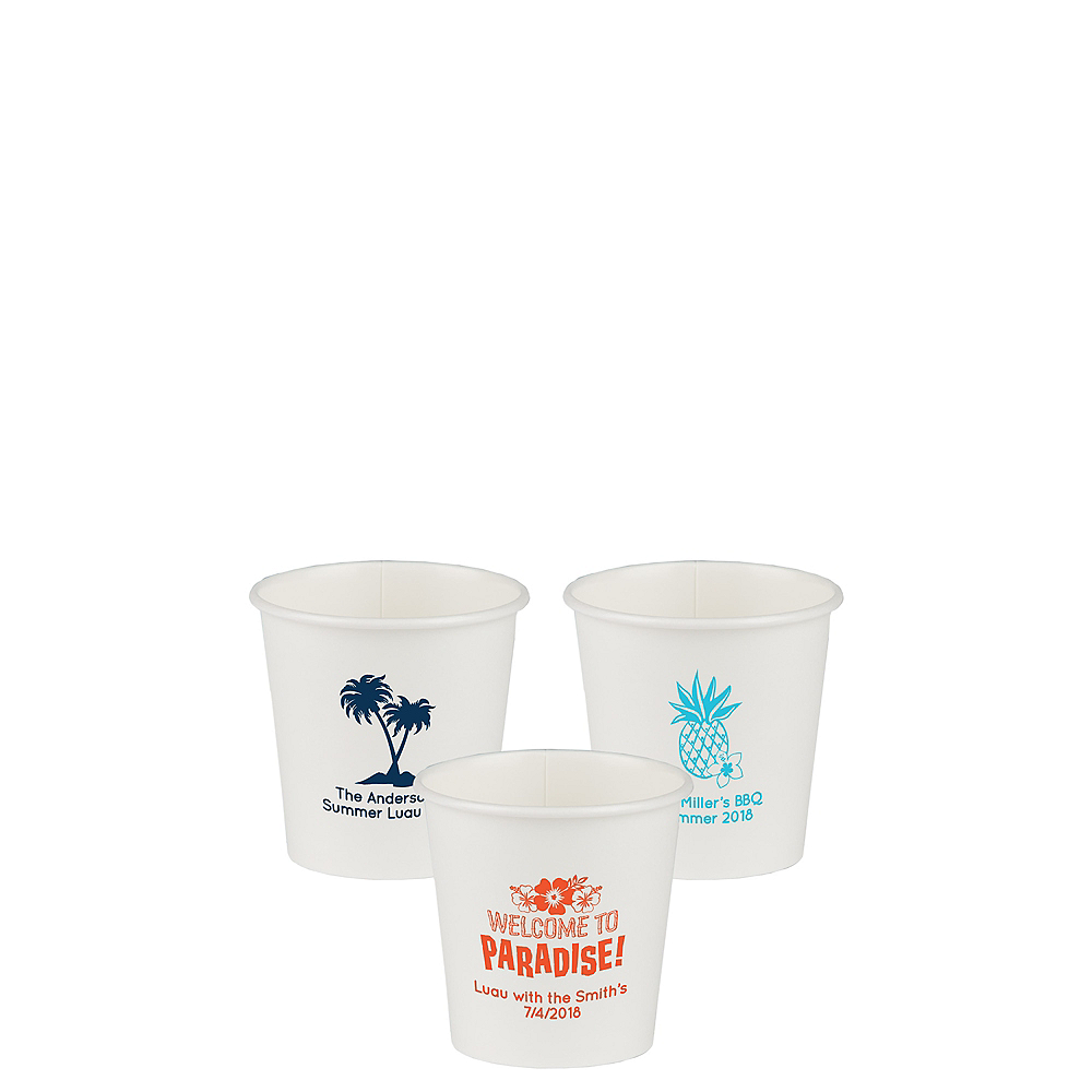 Personalized Luau Paper Cups 4oz Image #1