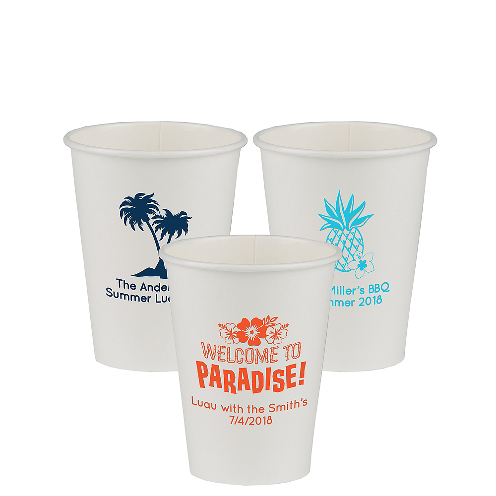Personalized Luau Paper Cups 12oz Image #1