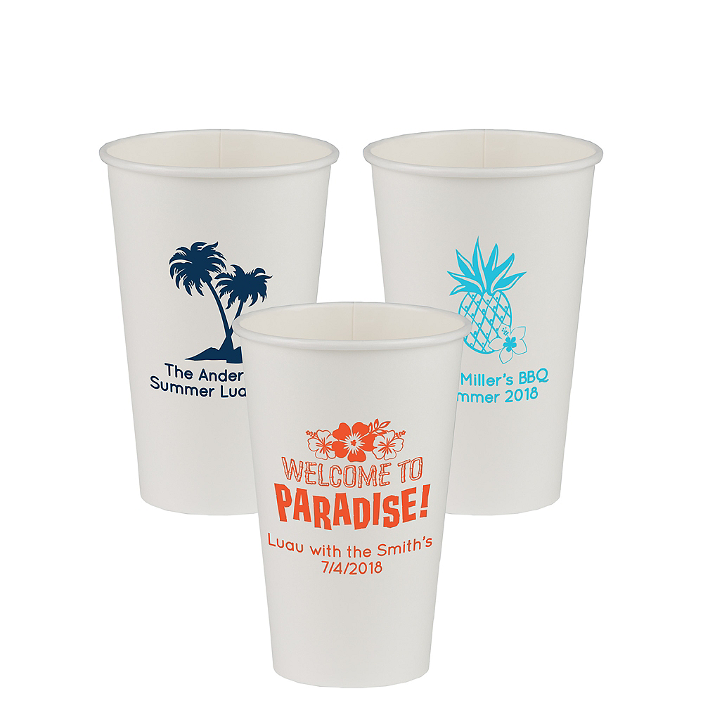 Personalized Luau Paper Cups 16oz Image #1