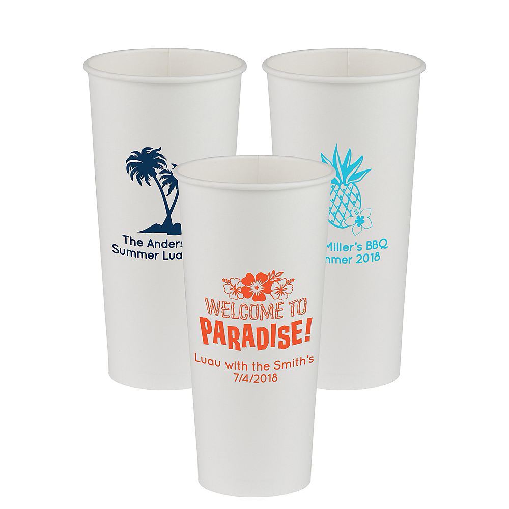 Personalized Luau Paper Cups 24oz Image #1