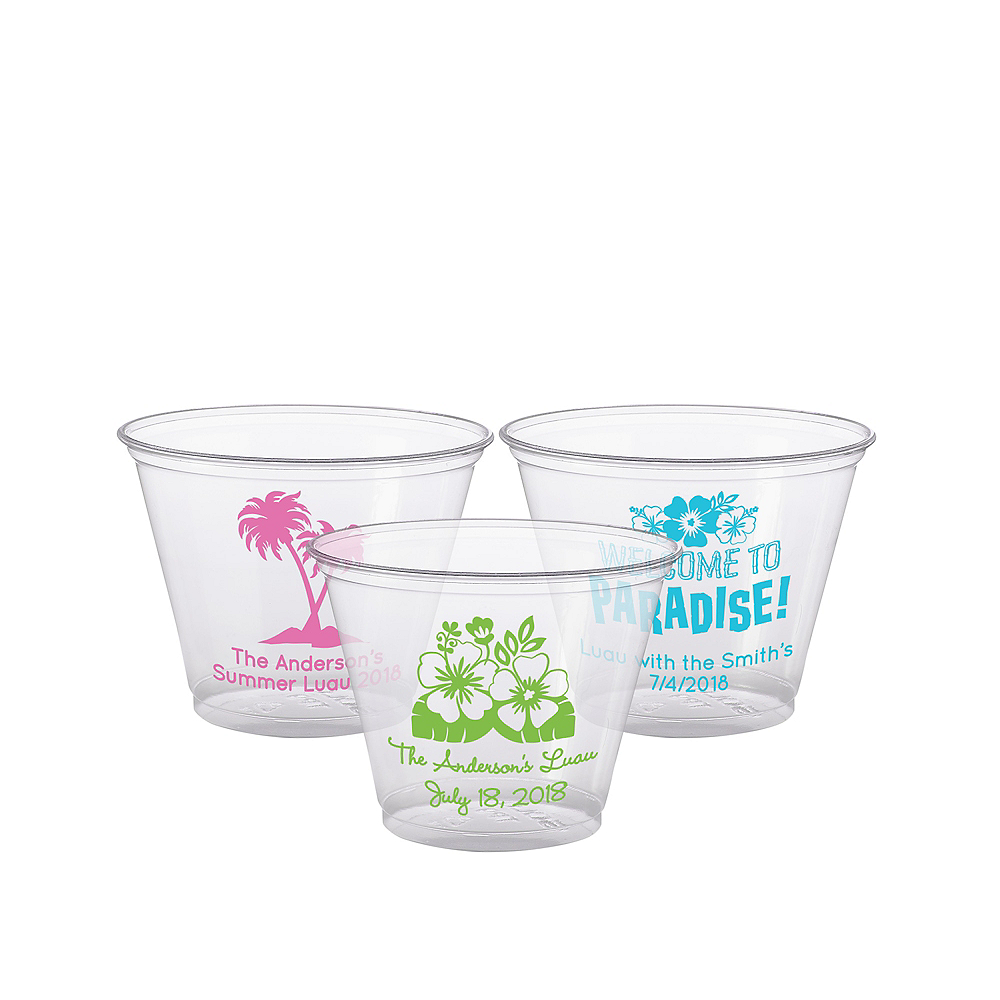 Personalized Luau Plastic Party Cups 9oz Image #1