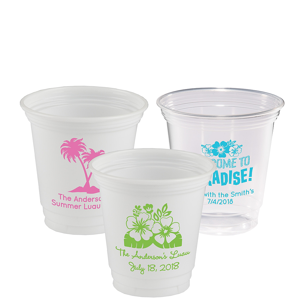 Personalized Luau Plastic Party Cups 12oz Image #1