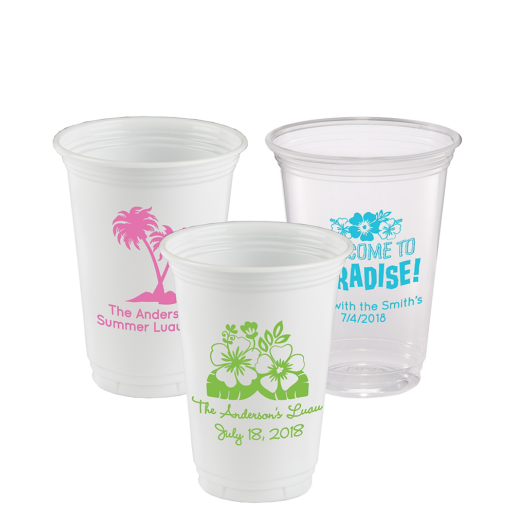 Personalized Luau Plastic Party Cups 16oz Image #1