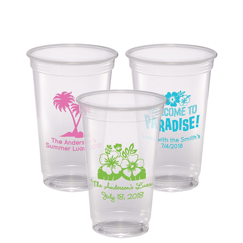 Personalized Luau Plastic Party Cups 20oz Image #1