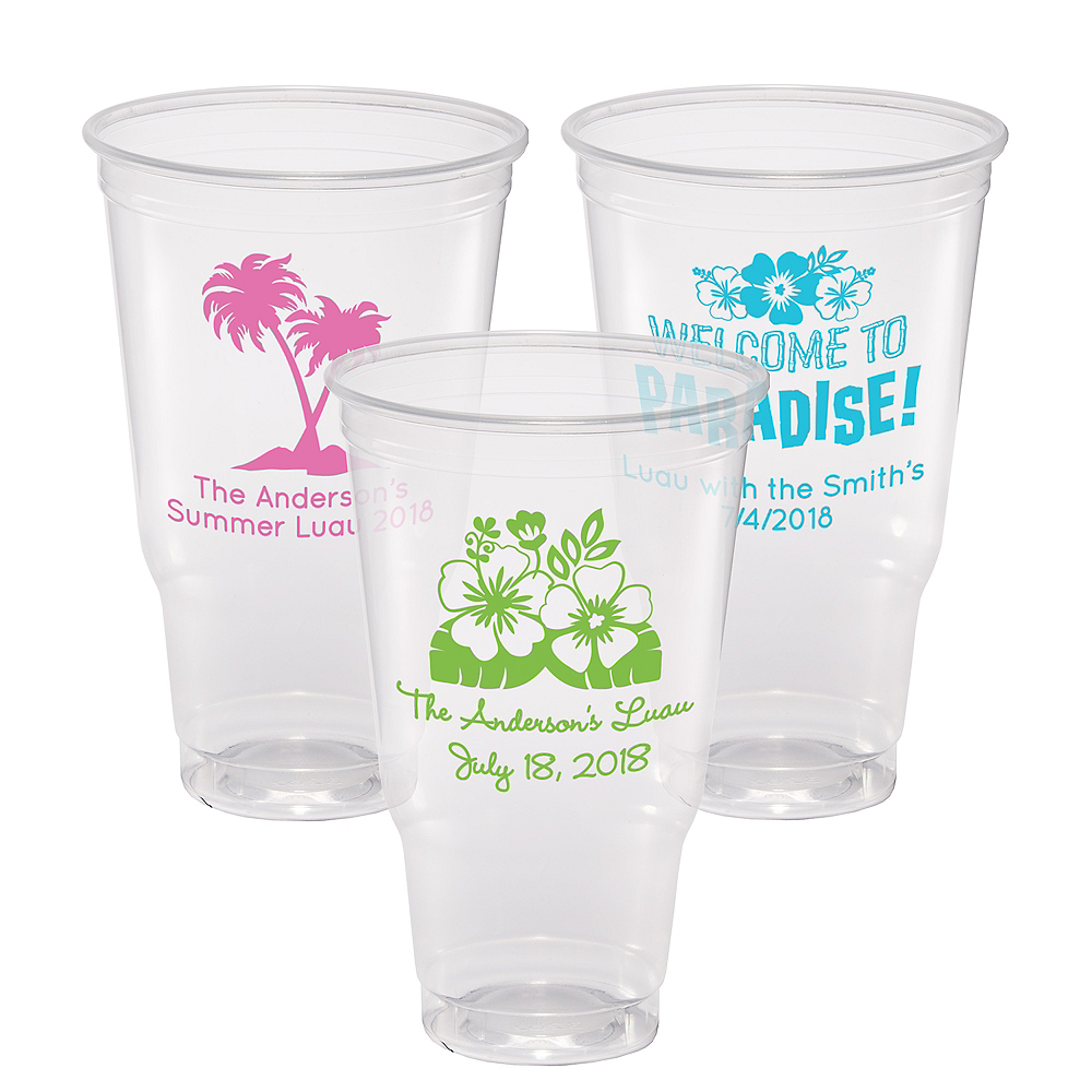 Personalized Luau Plastic Party Cups 32oz Image #1