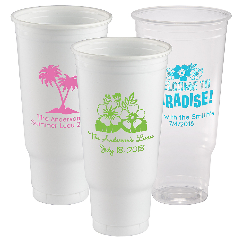 Personalized Luau Plastic Party Cups 44oz Image #1