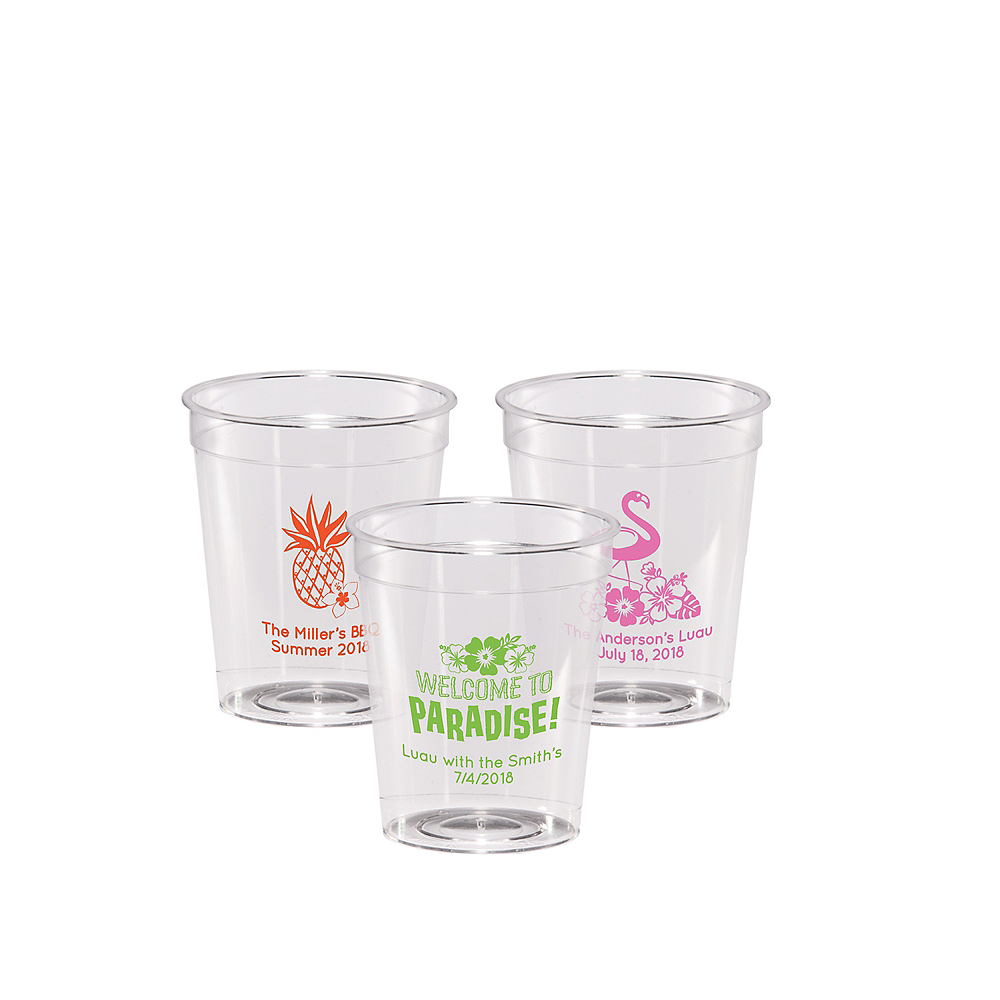 Personalized Luau Hard Plastic Shot Glasses 2oz Image #1