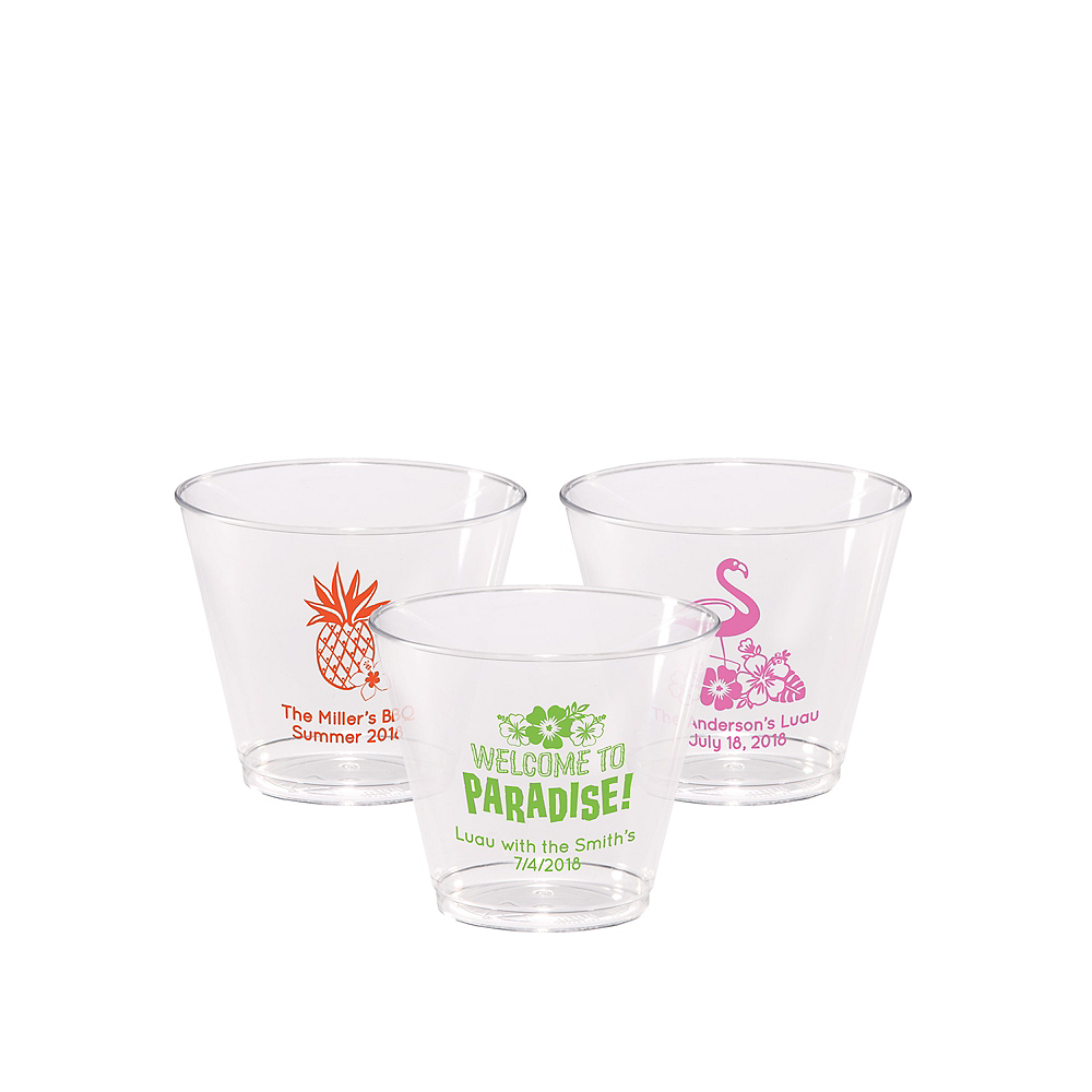 Personalized Luau Hard Plastic Cups 5oz Image #1