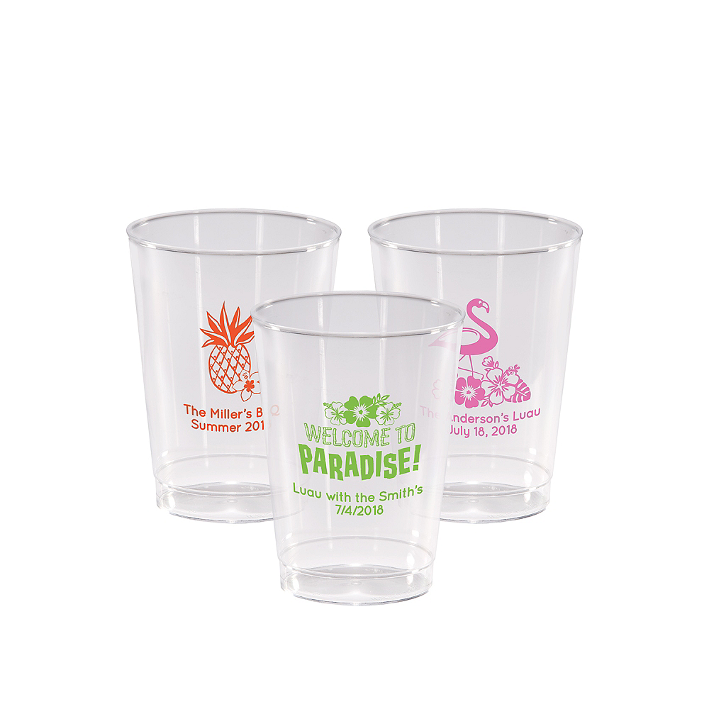 Personalized Luau Hard Plastic Cups 10oz Image #1