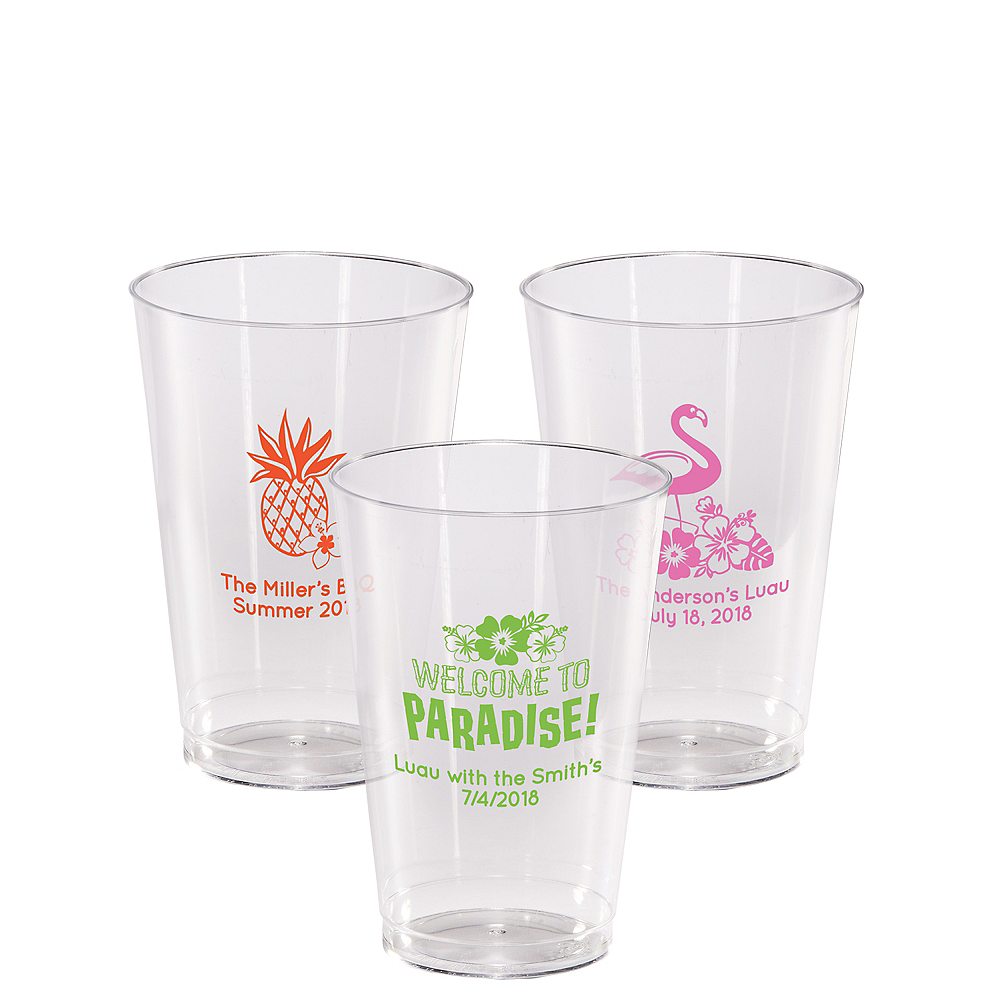 Personalized Luau Hard Plastic Cups 14oz Image #1