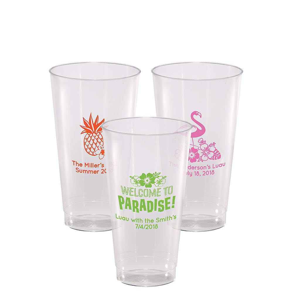 Personalized Luau Hard Plastic Cups 16oz Image #1