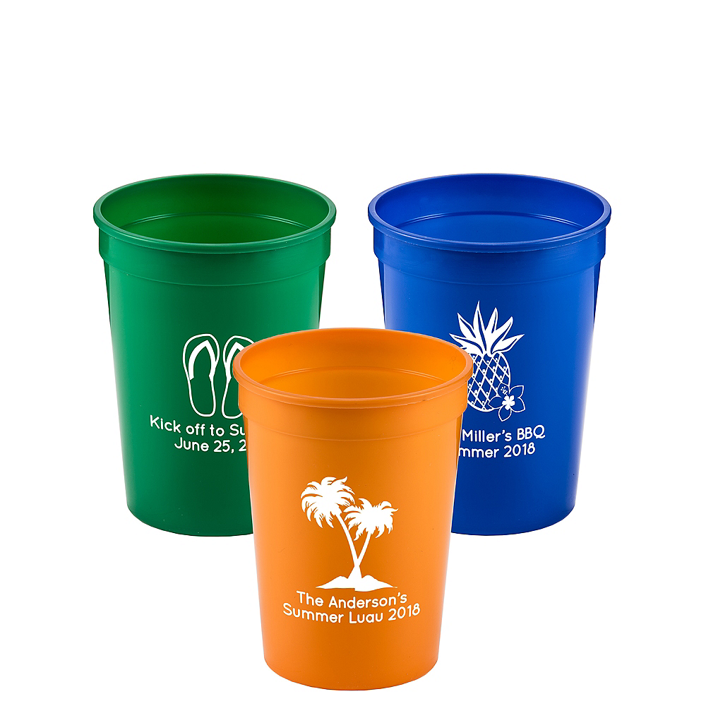 Personalized Luau Plastic Stadium Cups 12oz Image #1