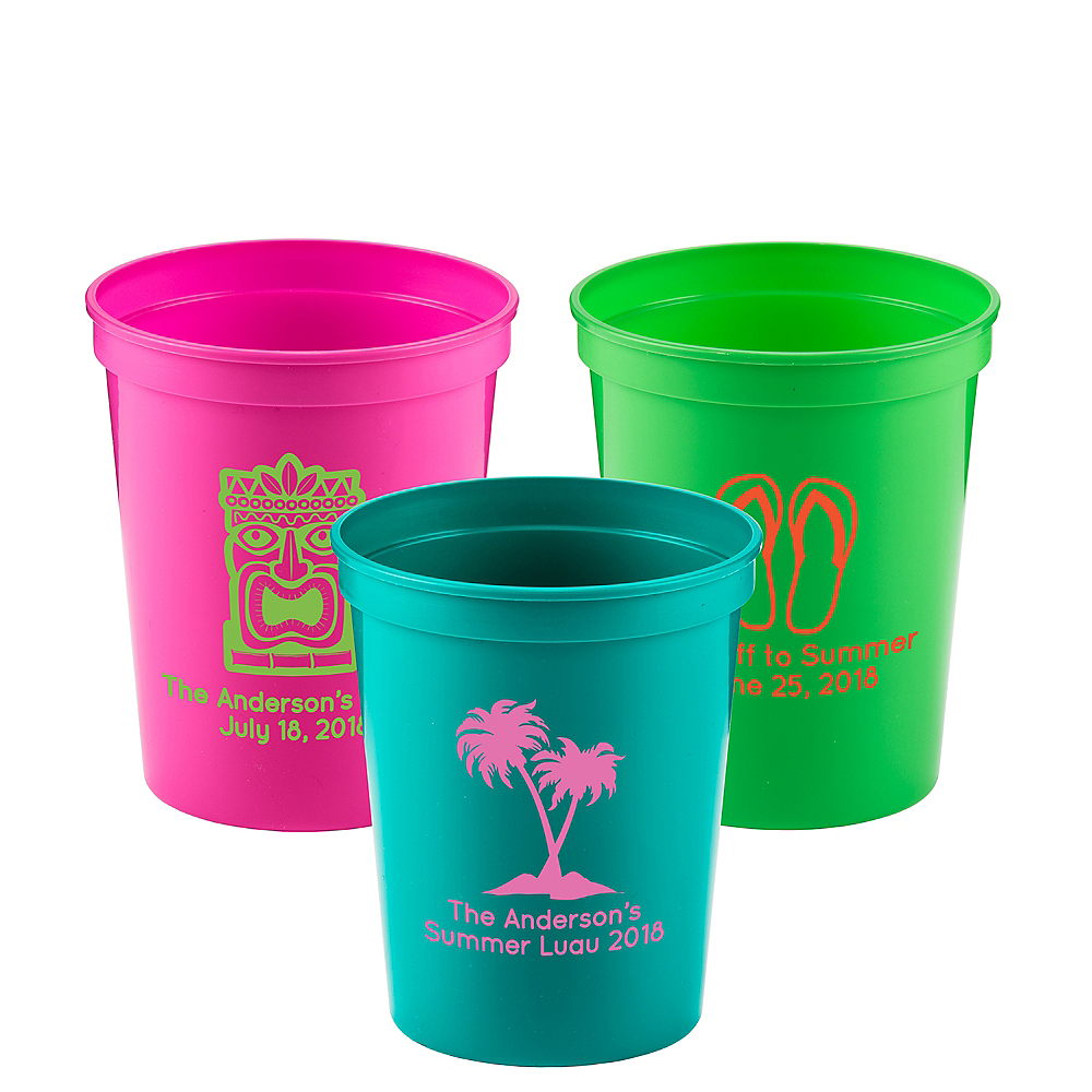Personalized Luau Plastic Stadium Cups 16oz Image #1