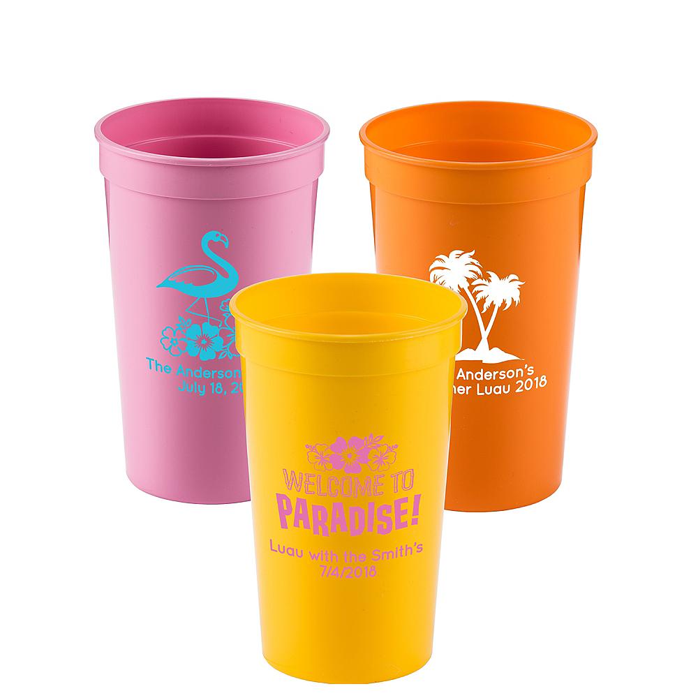 Personalized Luau Plastic Stadium Cups 22oz Image #1