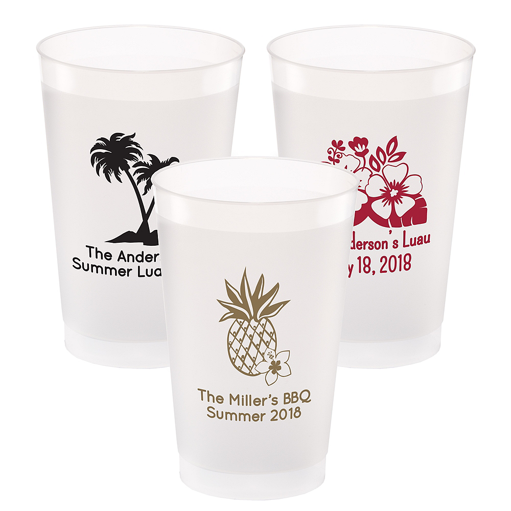 Personalized Luau Frosted Plastic Shatterproof Cups 24oz Image #1