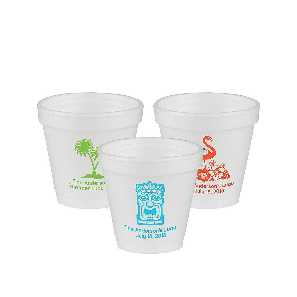 Nav Item for Personalized Luau Foam Cups 4oz Image #1
