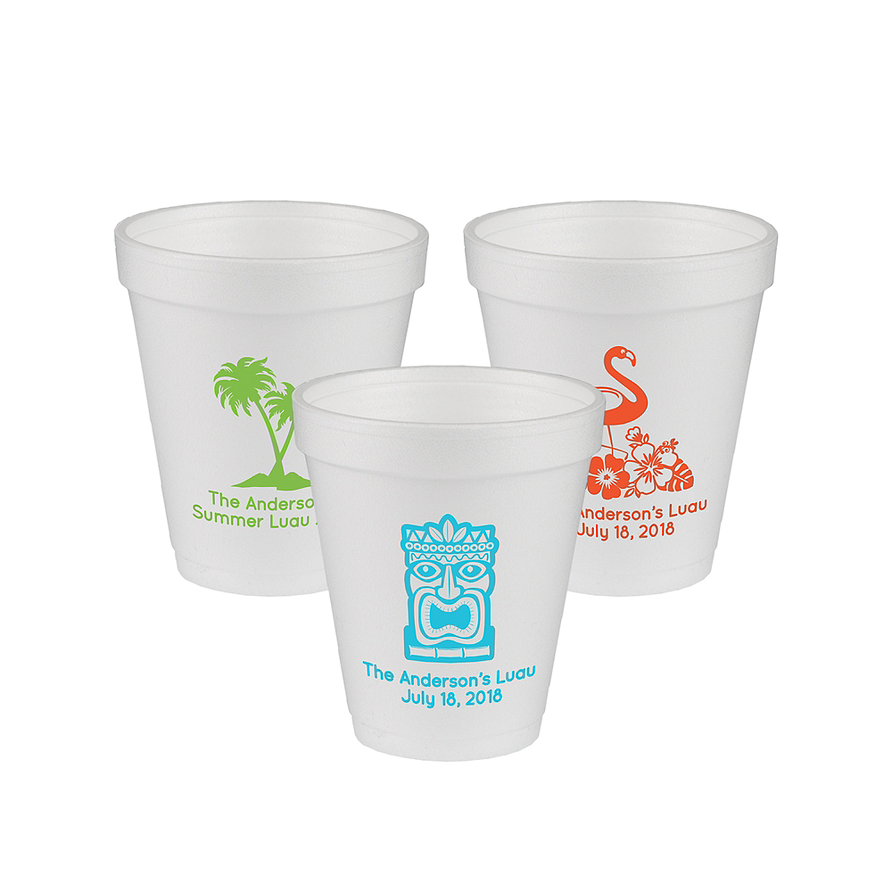 Personalized Luau Foam Cups 8oz Image #1
