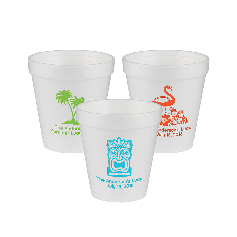 Personalized Luau Foam Cups 10oz Image #1