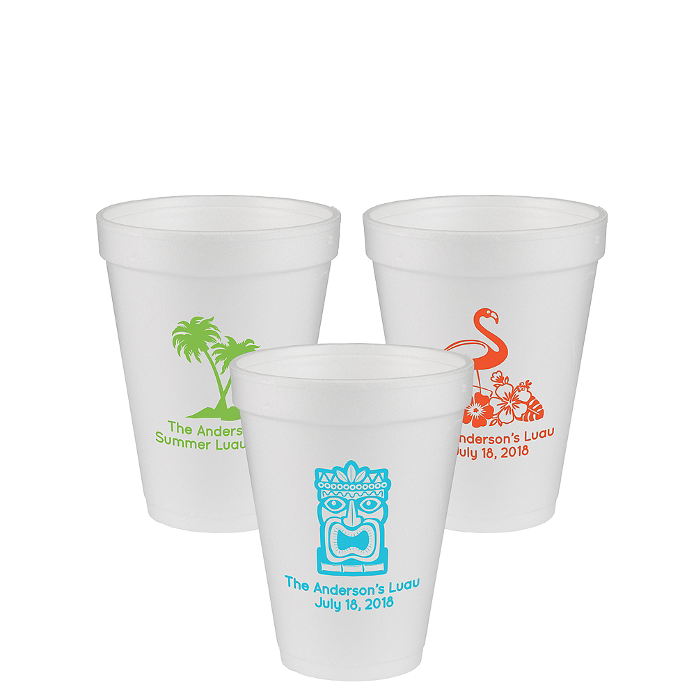 Nav Item for Personalized Luau Foam Cups 12oz Image #1