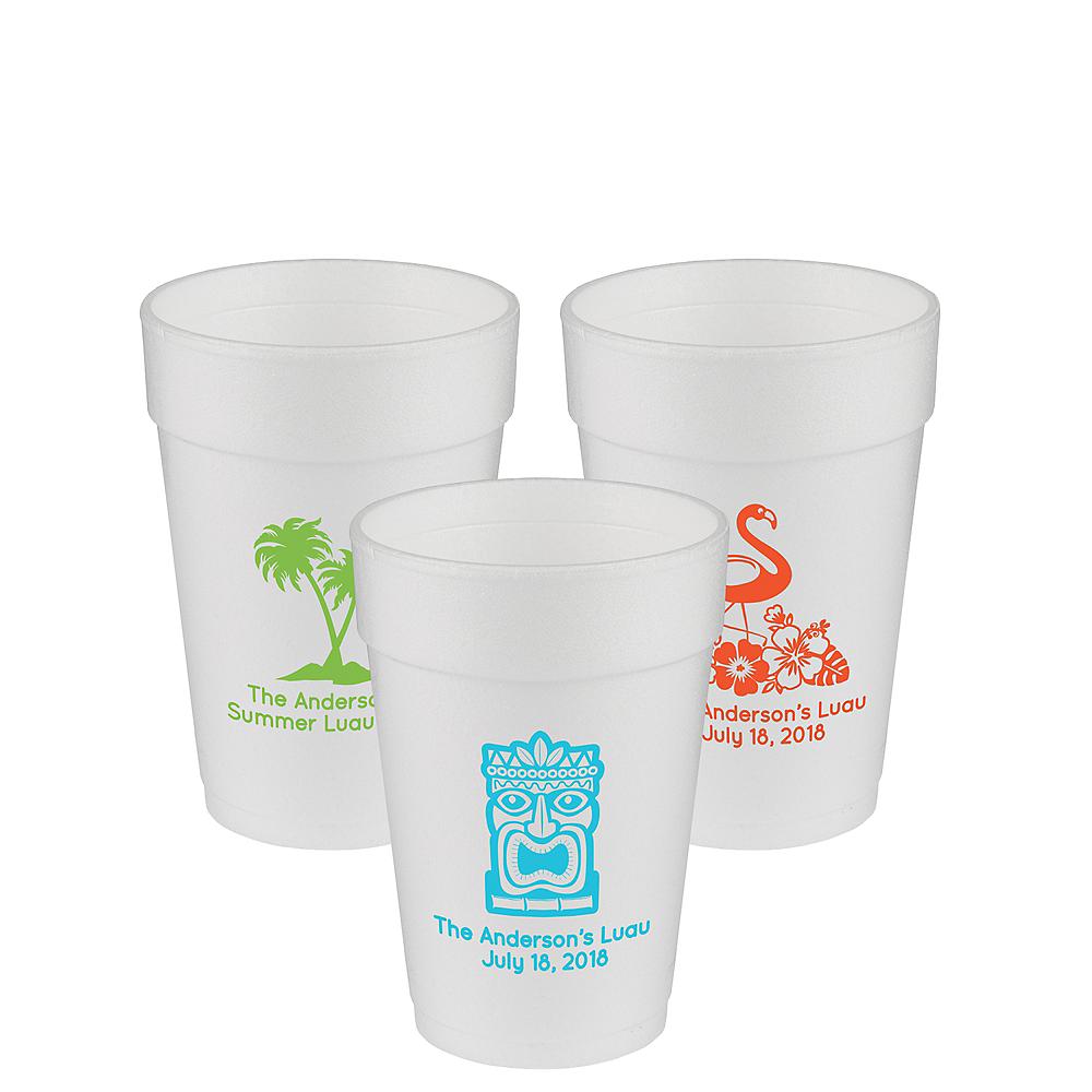 Personalized Luau Foam Cups 14oz Image #1