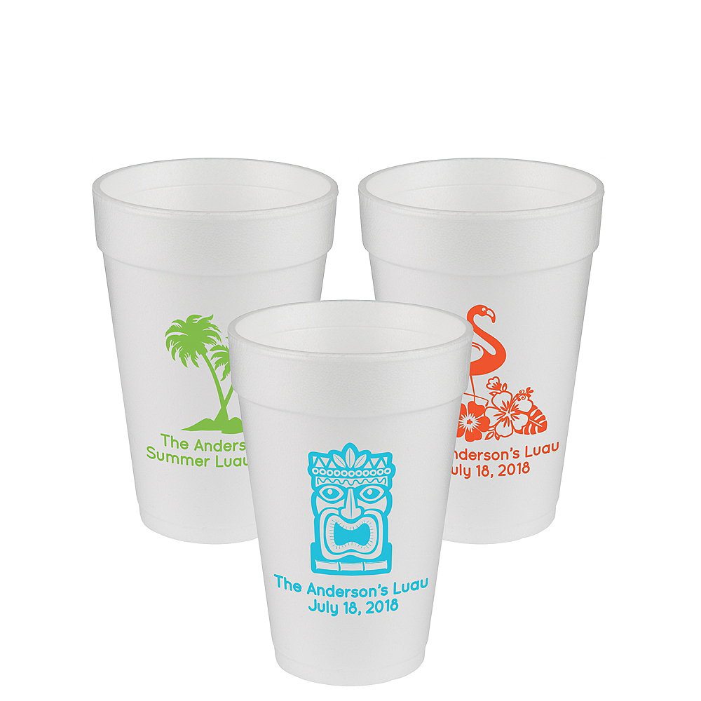 Personalized Luau Foam Cups 16oz Image #1