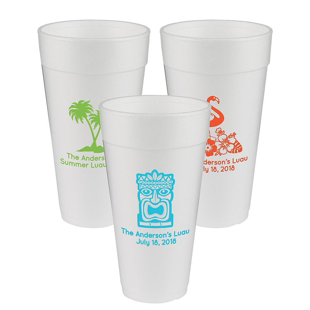 Personalized Luau Foam Cups 24oz Image #1
