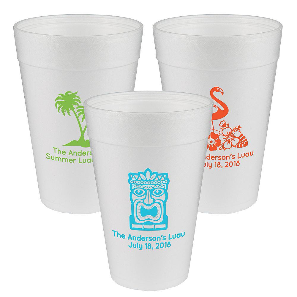 Personalized Luau Foam Cups 32oz Image #1