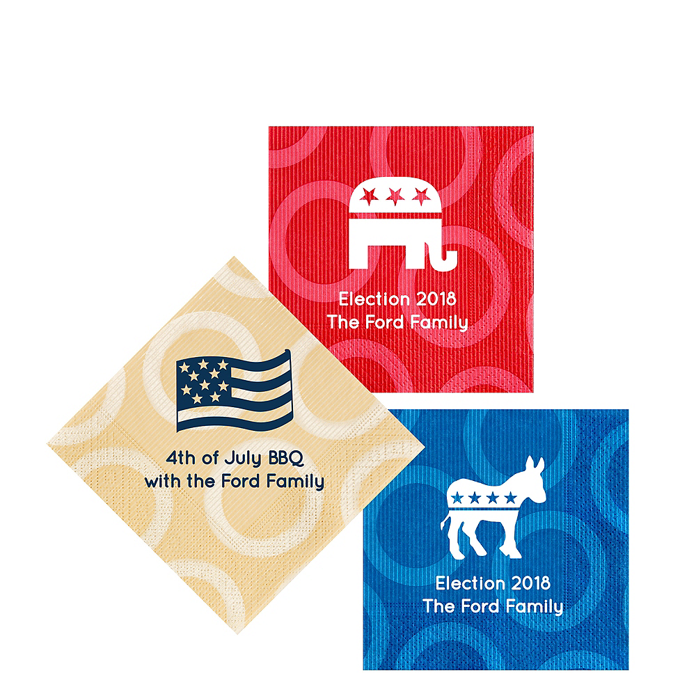 Personalized 4th of July Circles Beverage Napkins Image #1