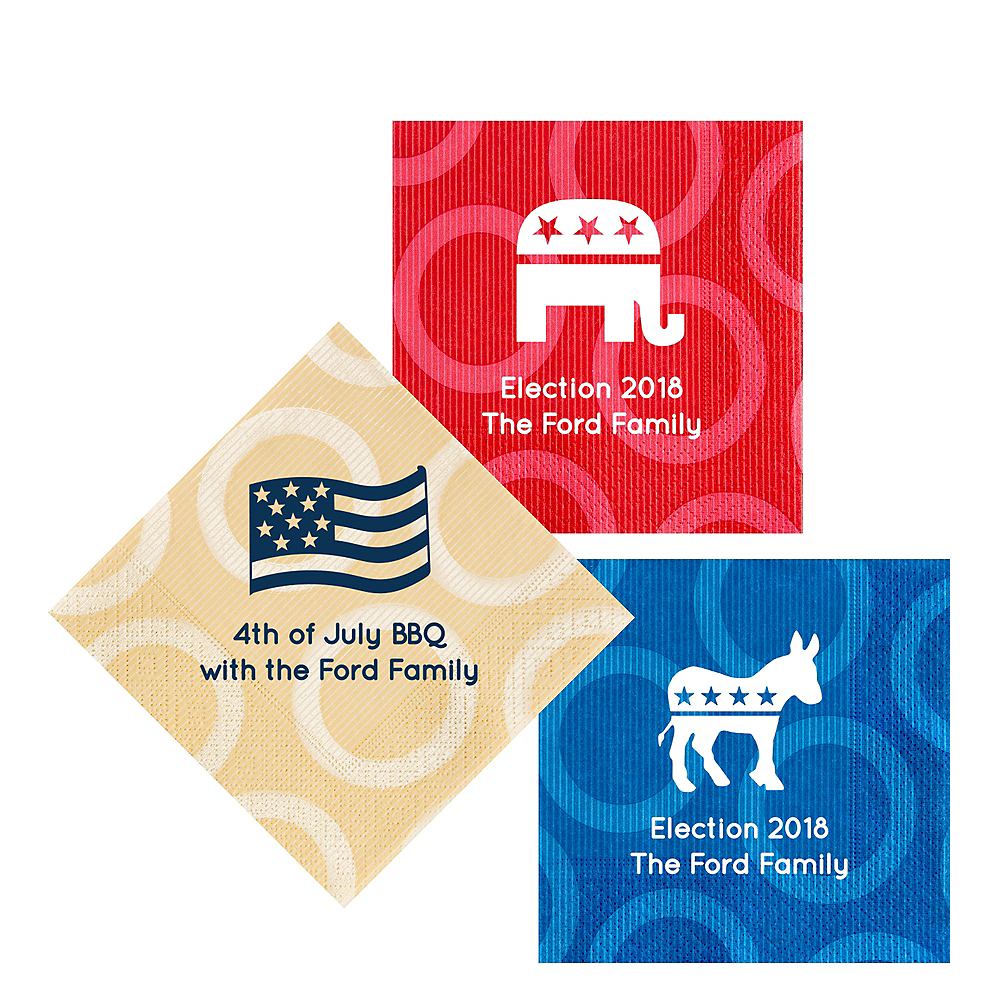 Personalized 4th of July Circles Lunch Napkins Image #1