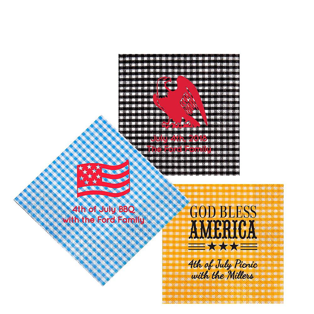 Personalized 4th of July Gingham Beverage Napkins Image #1