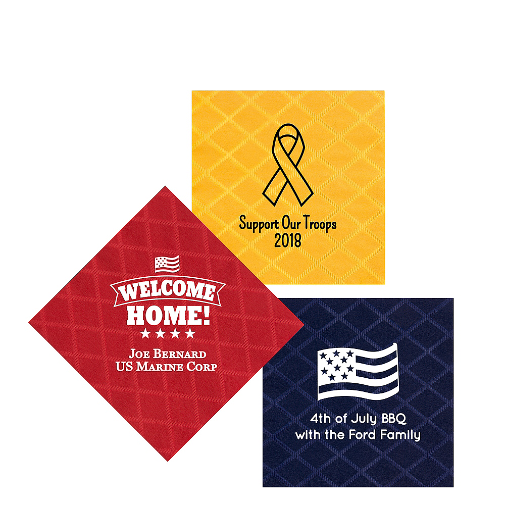 Personalized 4th of July Diamonds Beverage Napkins Image #1