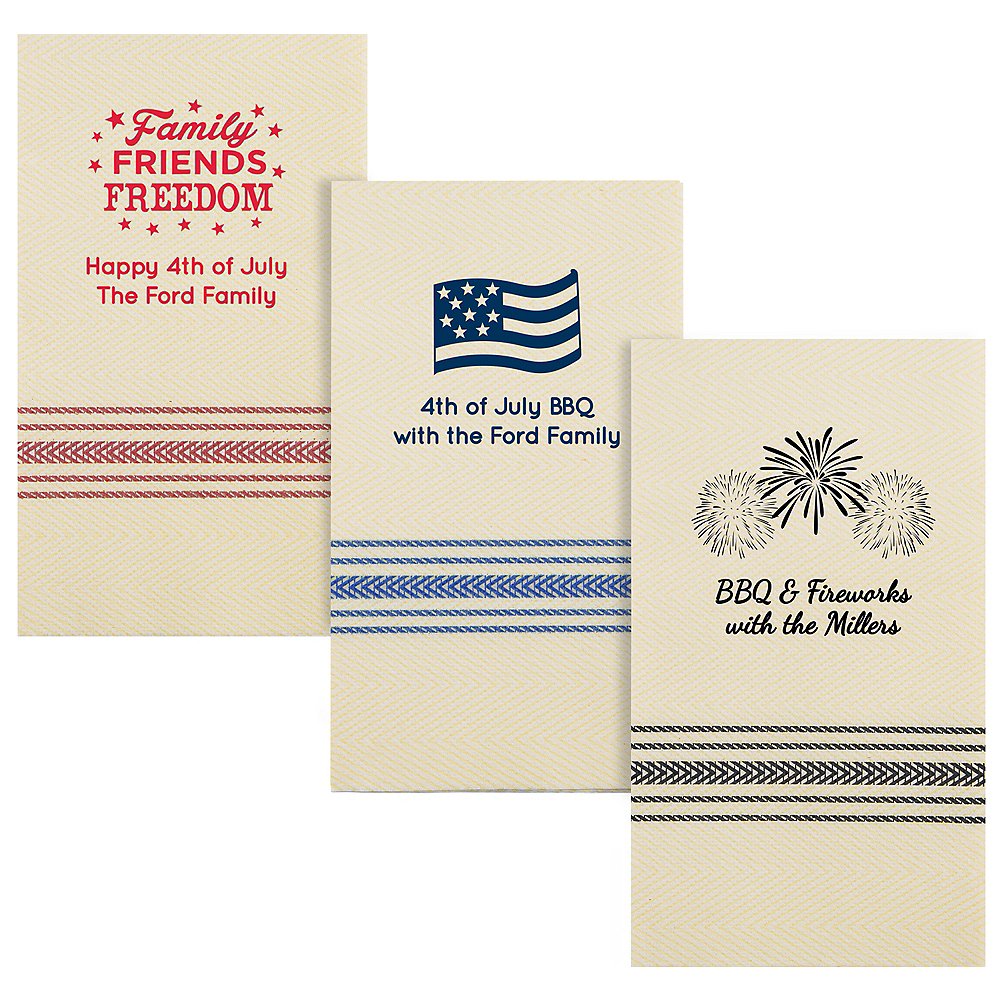 Personalized 4th of July Herringbone Guest Towels Image #1