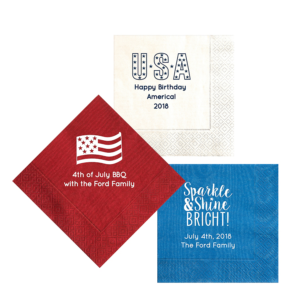 Personalized 4th of July Moire Lunch Napkins Image #1