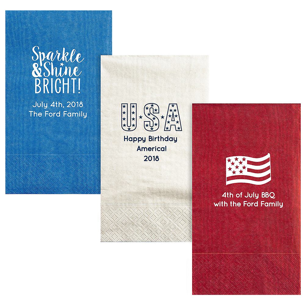 Personalized 4th of July Moire Guest Towels Image #1