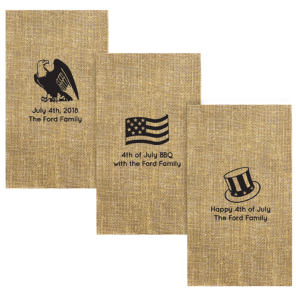 Personalized 4th of July Burlap Print Guest Towels Image #1