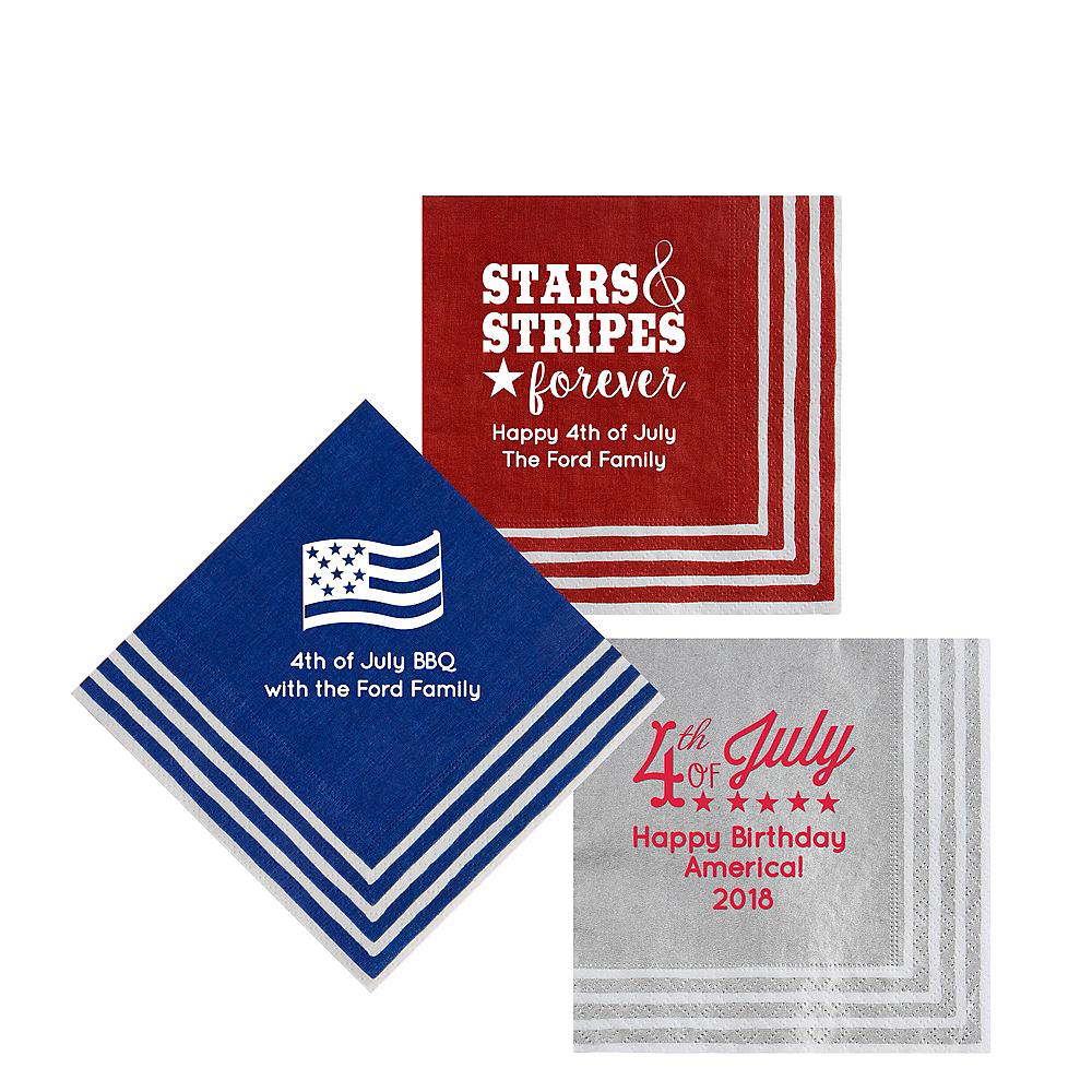 Personalized 4th of July Stripe Border Beverage Napkins Image #1