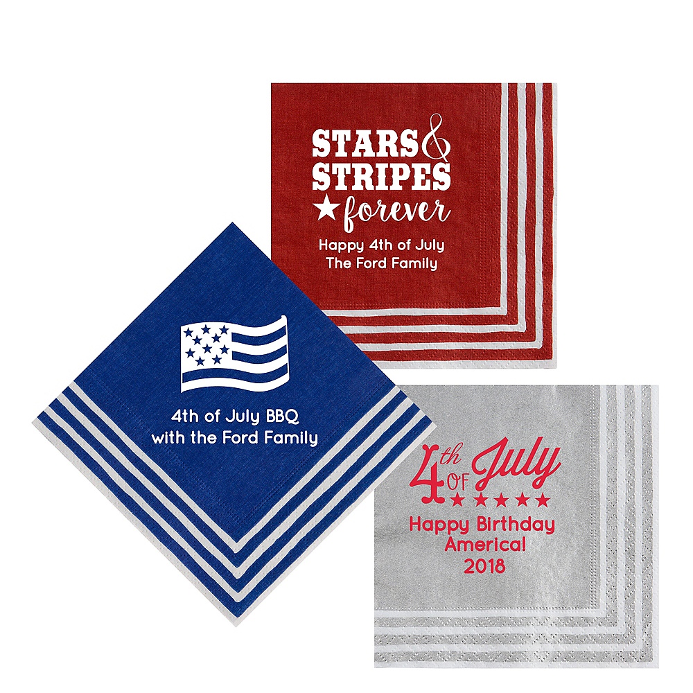 Personalized 4th of July Stripe Border Lunch Napkins Image #1